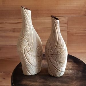 Pair ceramic swirl vases